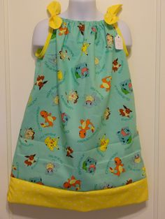 Pokemon Character Aqua Girls Pillow Case Dress Made to Order Sizes 12-18 months, 18-24 months, and 2 to 8, Pikachu, Squirtle, Charmander by DesignsByGranGran on Etsy