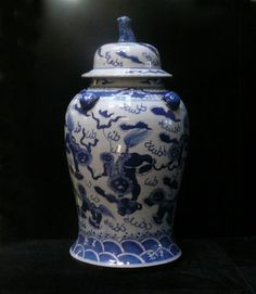 Chinese Blue White Porcelain Fu Dogs Temple General Jar CS224 | eBay