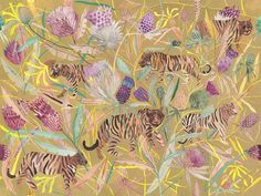 RESERVED FOR KRISTIN Tigers and Thistle - Original painting