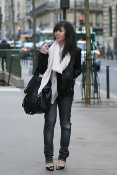 I'd wear this outfit with boots or flats