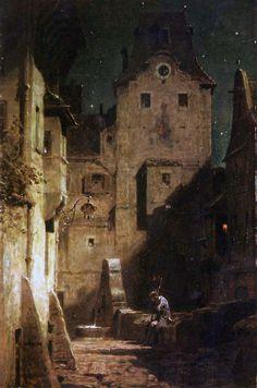 Carl Spitzweg:/Der eingeschlafene Nachtwächter,1875 the nightwatchman falen asleep