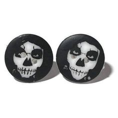 Skull Earrings, Handpainted Skull Studs, Surgical Steel Studs, Gothic... ($7.71) ❤ liked on Polyvore featuring jewelry, earrings, skull stud earrings, button jewelry, studded jewelry, gothic jewelry and button earrings