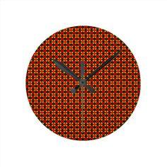 Orange Pattern Wall Clocks!  #zazzle #store #pattern #gift #present #customize #simple http://www.zazzle.com/patternsbydww25921*