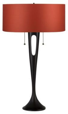 mod, glam with red chintz shade. Table lamp. Too cool