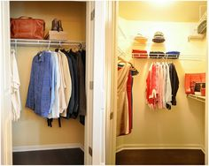 Chic leather suitcase with fabulous clothes hangers in small wall in closet furniture ideas #KBHomes