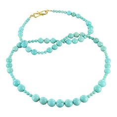 "18K GOLD FOX TURQUOISE BEADS NECKLACE ROUND 3 to 7.5mm SKY BLUE 18"" from New World Gems"