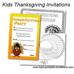 Free printable Thanksgiving invitations for kids.