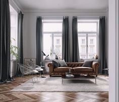 Incridible Tall Curtains Ideas for Your Home Living Room Design Living Room Grey, Living Room Modern, Living Room Sofa, Home Interior, Home Living Room, Living Room Designs, Living Room Furniture, Living Room Decor, Interior Design Living Room
