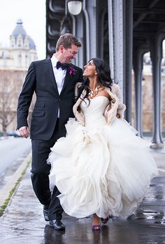 Glam wedding dress for a Paris wedding (One and Only Paris Photography)