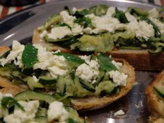 Courgette Feta Bruchetta Bruchetta, Organic Vegetables, Sourdough Bread, Fresh Herbs, Avocado Toast, Feta, Vegetarian Recipes, Easy Meals