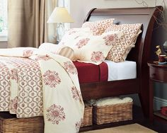 Red and cream duvet, quilt & shams - bedroom - 'Parvati' bedding (discontinued) - Pottery Barn