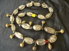 authentic antique naga nagaland necklace tribal chunky glass beads brass bells