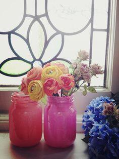 Stitch me Softly...: DIY painted mason jars