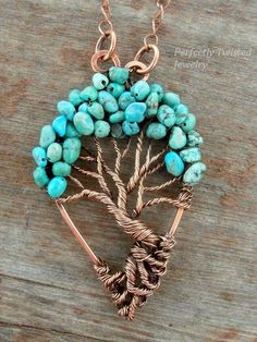 Wire Wrapped Tree of Life Bonsai Pendant, Blue Green Turquoise, Handmade Jewelry, Antiqued Copper, Wire Tree Jewelry Perfectly Twisted  The pendant is 2.5 inches in height and approximately 1.5 inches wide, at the widest point. It comes with a 18 inch solid copper chain and handmade clasp.  This unique and gorgeous Bonsai has a generous canopy of beautiful blue green turquoise beads. Each stone is carefully sewn into place for durability as well as beautiful placement.  This pendant is…