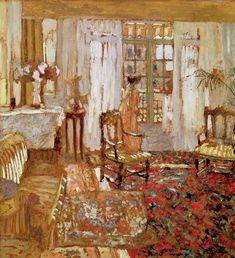 Edouard Vuillard - Interior with a Woman in Yellow in Front of a Window - oil on canvas