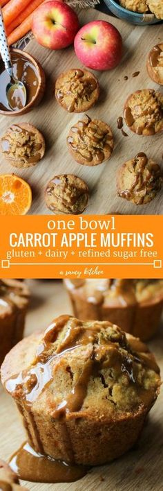 Carrot Apple Muffins loaded with fruit and veggies. A deliciously spiced muffin that's perfect for snacking or on the go breakfast made in one bowl! Gluten Free +Dairy Free + Refined Sugar Free