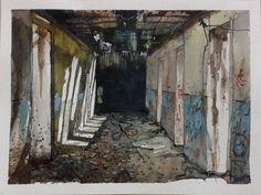 Abandoned Hospital Corridor - watercolour by Sushanto