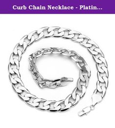 "Curb Chain Necklace - Platinum plated - Mens - 13mm, 24"" Bling solid. If you've been searching for a budget-friendly silver chain that could fool even the best jewellery connoisseur, you've come to the right place. The Internet is awash with imitation silver chains, many of which look about as cheap as they cost. Our silver-plated chain, however, is in a league of its own. The silver is unique thanks to an innovative plating technology, which renders a product that looks identical to a…"