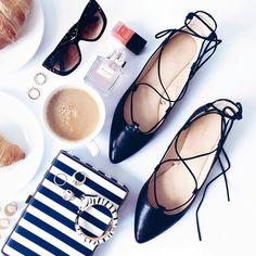shoes, flats, flatlay, fashion, ballerinas, lace up flats
