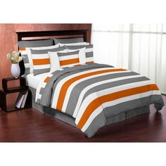 If you are looking for beautiful color, then Orange Bedding is just for you. Try an orange Bedding Set! Bedroom Orange, Orange Bedding, Grey Bedding, Purple Bedding, Chic Bedding, Bedroom Black, Kids Twin Bedding Sets, Teen Boy Bedding, Dorm Bedding