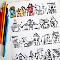 Imprimible casas para pintar // Houses Coloring Page