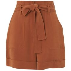Whistles Cargo Pocket Shorts, Rust ($160) ❤ liked on Polyvore featuring shorts, high-waisted shorts, high-rise shorts, highwaist shorts, slim fit shorts and rayon shorts