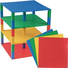 : Blue 30 Stackers Strictly Briks Tower with 4 levels 32x32 Green Red Yellow