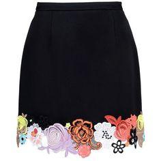 Christopher Kane Floral Hem Skirt ($1,618) ❤ liked on Polyvore featuring skirts, black, floral printed skirt, christopher kane, floral knee length skirt, flower print skirt and floral skirt