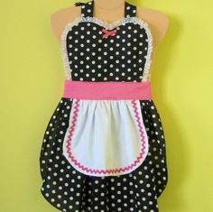 Kids apron  RETRO black and pink POLKA DOT by loverdoversclothing, $24.00