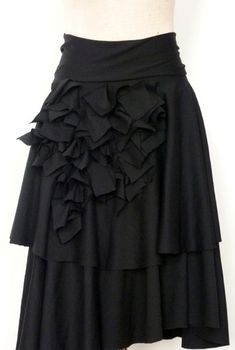 Black 2 layer Ponte (Knit fabric)Skirt with Ruffles,high waist look,comfortable A-Line skirt,by Cheryldine, custom orders, more colors. $150.00, via Etsy.