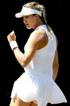 Eugenie Bouchard of Canada celebrates a point during her ladies singles qualifying match against Karolina Muchova of Czech Republic on Day Three of Wimbledon Qualiifying on June 2018 at the Bank of England Sports Centre in London, England. Eugene Bouchard, Maria Sharapova Hot, Wta Tennis, Tennis World, Tennis Players Female, Good Looking Women, Sporty Girls, Sports Pictures, Wimbledon