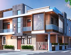 Modern Bungalow Exterior, Modern House Facades, Building Elevation, House Elevation, House Architecture Styles, Amazing Architecture, Autocad, Adobe Photoshop, Facade House