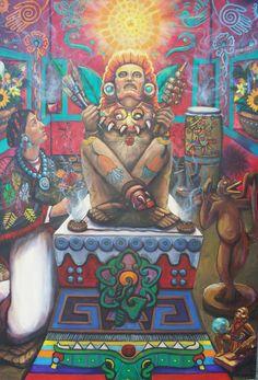 Xochipilli parece más vivo que nunca. Las garras felinas del fleco de su coraza son las mismas que a los lados de la cara de Tonatiuh (en el Calendario Azteca) destrozan corazones, símbolo del sacrificio de las emociones del iniciado; sacrificio sin el cual no es posible llegar a Dios.