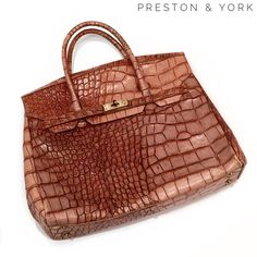 "Preston & York leather faux croc kelly birkin bag Preston & York leather faux croc kelly birkin bag. This bag measures 14.5"" in length, 4.5"" in depth, and 12"" in height. In very good condition, with very minor wear and scuffing throughout. Preston & York Bags Satchels"