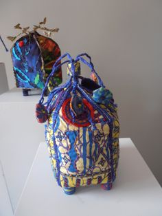 Fabric boxes in Janet Edmond style by Sarah Miles.