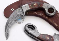 Custom Made Beautiful Damascus Double Edge Karambit Hunting Knife (FSL-077-8)…