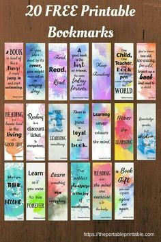 21 Ideas For Craft Quotes Hobbies 21 Ideen für Bastelzitate Hobbys Bookmarks Quotes, Paper Bookmarks, Watercolor Bookmarks, Watercolor Quote, Kids Watercolor, Free Printable Bookmarks, Free Printables, Printable Book Marks, Diy Marque Page