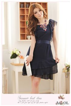 Gentle Lotus Sleeve Multilayer Elegant Chiffon Dress