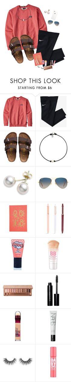 """Coral"" by awillis296 ❤ liked on Polyvore featuring Patagonia, NIKE, Birkenstock, Mikimoto, Ray-Ban, Rifle Paper Co, BERRISOM, Maybelline, Bobbi Brown Cosmetics and NARS Cosmetics"