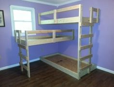 DIY Triple Bunk Bed. Since I have so many kids.
