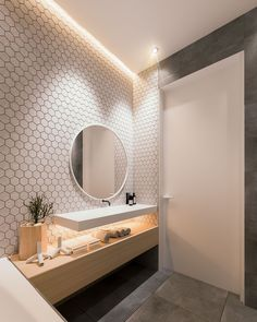 Amazing Inspiration of Elegant Apartment Design Ideas Using Contemporary Interior Features And Tips Elegant bathroom design ideas Bathroom Inspiration, House Design, Bathroom Makeover, Small Bathroom, Bathroom Decor, Round Mirror Bathroom, Bathroom Design, Apartment Design, Elegant Bathroom Design