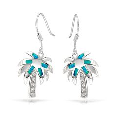 Tropical CZ Palm Tree Inlay Blue Opal Dangle Earrings 925 Sterling