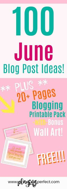 100 June blog post ideas for bloggers looking for June blog post idea inspiration! Also, FREE June blog printable pack! Blog printable freebie for June! June blogging made easier with these awesome blog post ideas for tons of blog niches! Grab your FREE June blog printable pack!   playingperfect.com   #June #blog #blogging #playingperfect #blogposts #blogpostideas #freeprintable #freeprintables #blogs #printables #printableplanner #blogprintable #blogger Wordpress For Beginners, Blogging For Beginners, Make Money Blogging, Blogging Ideas, Blog Topics, Blog Planner, Creating A Blog, How To Start A Blog, Writing Tips