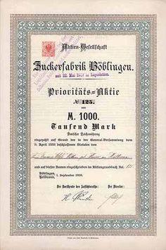 Zuckerfabrik Böblingen / Prioritäts-Namensaktie 1.000 Gulden, Böblingen/Heilbronn1.1.1863 (Auflage 400, R 12).