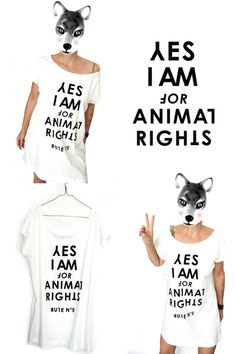 YES I AM FOR ANIMAL RIGHTS + LONG TOP von pension auf DaWanda.com