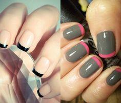 Modele unghii french colorat Nailed It, Nail Polish, Nails, Beauty, Fashion, Finger Nails, Moda, Ongles, Fashion Styles