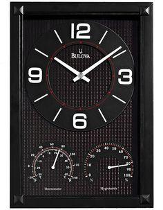 Bulova Concept Weather Station Wall Clock - Black Carbon Fiber Pattern Dial
