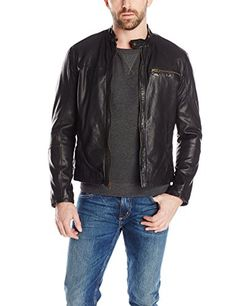 Cole Haan Men's Washed Lamb Moto Jacket with Perforated Leather Panels, Black, Large Cole Haan ++ You can get best price to buy this with big discount just for you.++