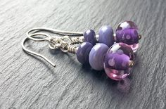 Lampwork glass and sterling silver 'Iris' Earrings | by Beads By Laura