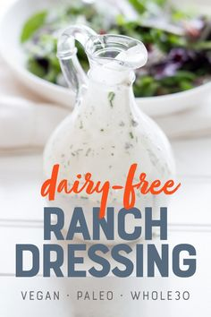 This creamy and tangy Healthy Ranch Dressing is dairy-free, nut-free, and perfect for drizzling on your favorite salad or for dipping your favorite foods. We used creamy and rich coconut milk to make this ranch vegan and paleo. It's a win for everyone! #veganranch #paleoranch